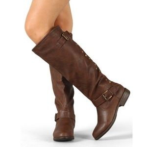 Bamboo Montage-83 Brown Knee High Riding Boots